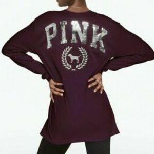 VS PINK | Maroon Campus Long Sleeve Bling (VS50)